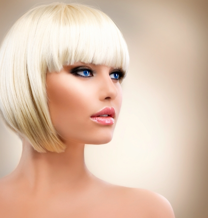 Blonde Girl Portrait  Blond Hair  Hairstyle  Stylish Make-up  photo