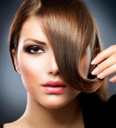 Hair Schoonheid Meisje Met Gezonde Lang Bruin Haar