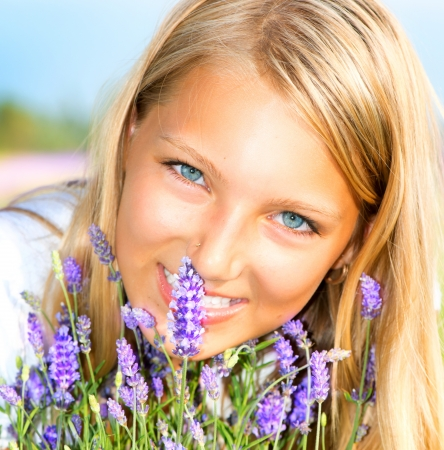 Beautiful Girl With Lavender  photo