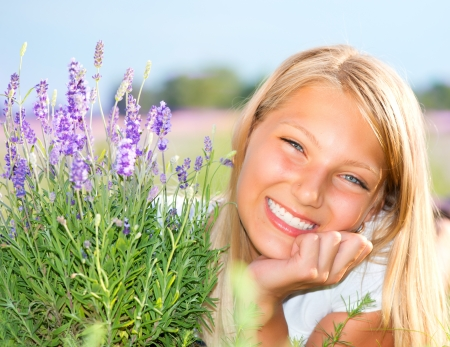 Beautiful Girl in Lavender Field photo