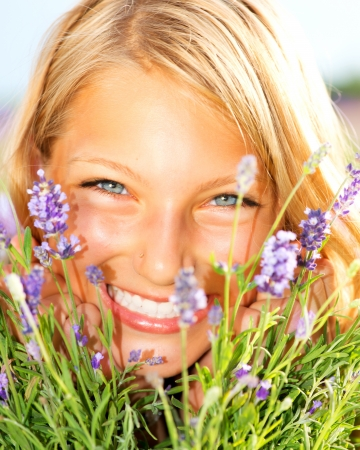 aromatherapy: Beautiful Girl With Lavender