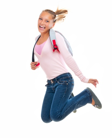 Back To School  Happy and Smiling High School Student Jumping photo
