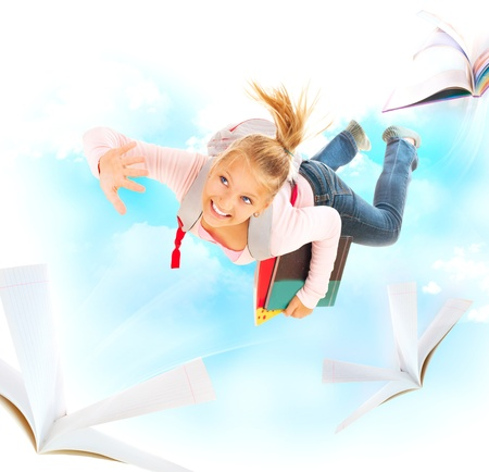 Back to School  Schoolgirl Flying With Her Books and Notebooks  photo
