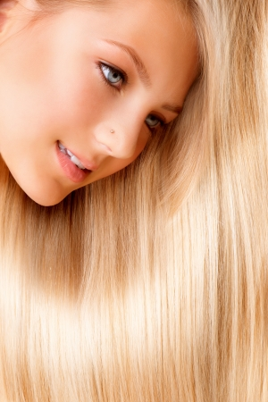 Beautiful Blond Long Hair  Blonde Girl Close-up Portrait  photo