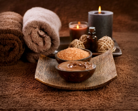 spa candles: Chocolate Spa Mask  Stock Photo