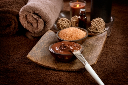 alternative therapies: Chocolate Spa Mask  Stock Photo