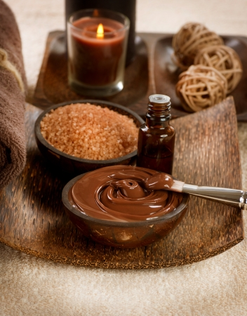alternative wellness: Chocolate Spa Mask  Stock Photo