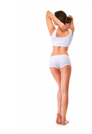 Rear View of Perfect Slim Body  Full length portrait  photo