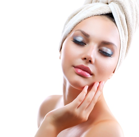 Spa Girl  Beautiful Young Woman After Bath Touching Her Face Stock Photo - 14873614