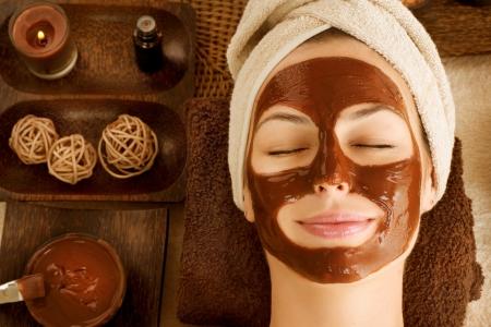 tratamiento facial: Chocolate Spa Facial Mask Foto de archivo