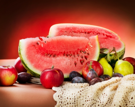 Watermelon Autumn Fruits Still-Leben