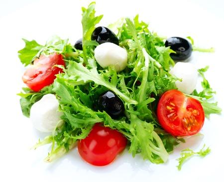 basil herb: Salad with Mozzarella Cheese  Stock Photo