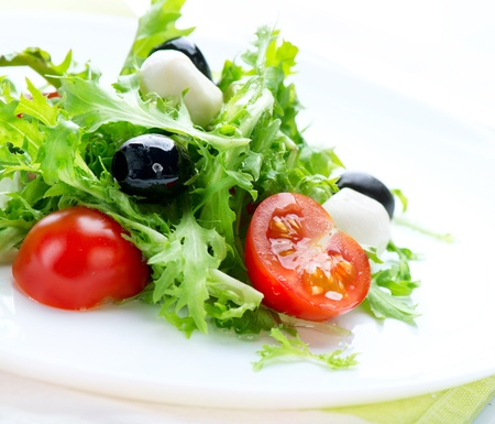 veges: Salad with Mozzarella Cheese  Stock Photo