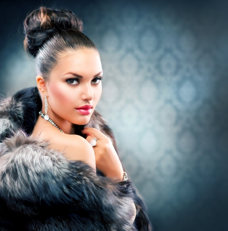 blue grey coat: Beautiful Woman in Luxury Fur Coat