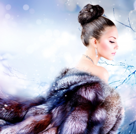 blue grey coat: Winter Girl in Luxury Fur Coat  Stock Photo