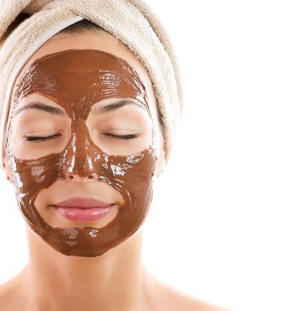 얼굴 표정: 얼굴 초콜릿 마스크 스파 스톡 사진