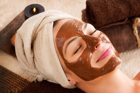 tratamientos corporales: Chocolate Spa Facial Mask Foto de archivo