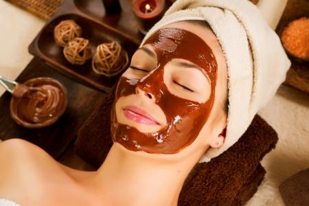 chocolate mask: Chocolate Mask Facial Spa  Beauty Spa Salon Stock Photo