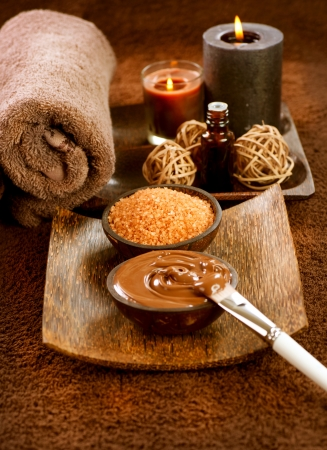 facial massage: Chocolat Masque Spa Banque d'images