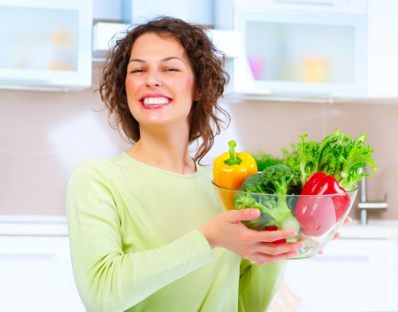 Beautiful Young Woman with healthy food Stock Photo - 15044016