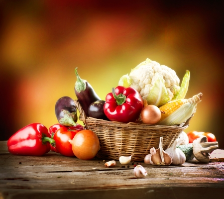 shopping baskets: Healthy Organic Vegetables Still life Art Design  Stock Photo