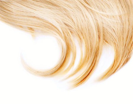 blond streaks: Healthy Blond Hair isolated on white