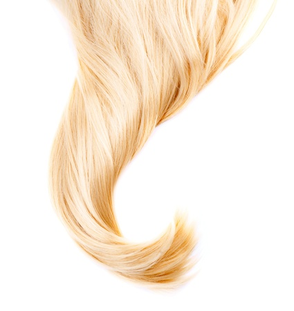 flaxen: Healthy Blond Hair isolated on white