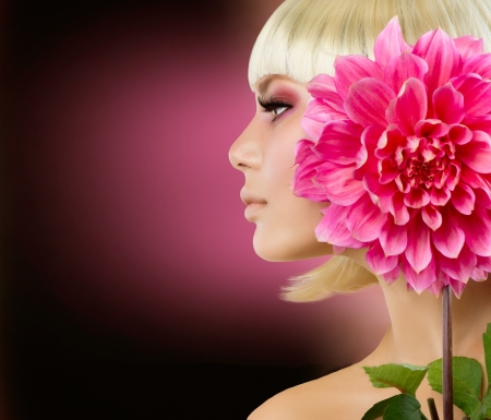 dahlia flower: Fashion Blonde Woman with Dahlia Flower  Stock Photo