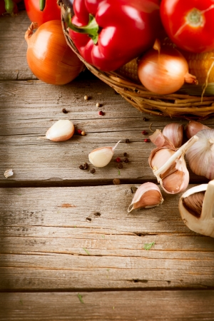 Healthy Organic Vegetables on a Wood Background Stock Photo - 15426999