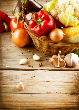 Healthy Organic Vegetables on a Wood Background Stock Photo - 15426995
