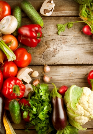 Healthy Organic Vegetables on a Wooden Background Stock Photo - 15540959