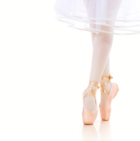 pointe: Ballerina Legs closeup  Ballet Shoes  Pointe Stock Photo