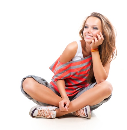Happy Teen Girl showing Thumbs up isolated one white  photo
