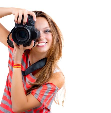 photo camera: Teenage Girl con la macchina fotografica Photo Professional Isolato su sfondo bianco Archivio Fotografico