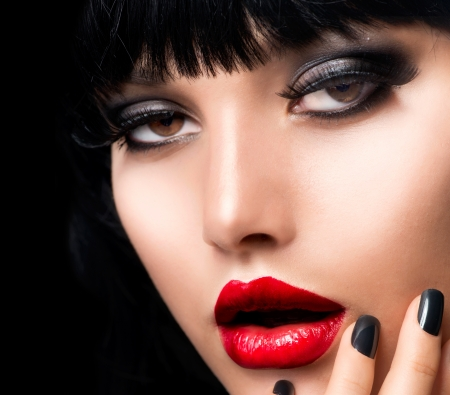Beautiful Brunette Girl Portrait  Face  Makeup  Sensual Red Lips  photo