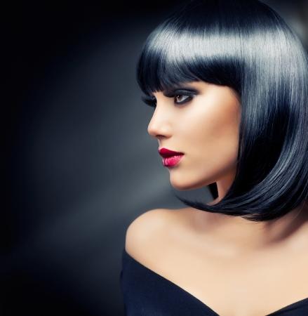 Beautiful Brunette Girl Gesunde Black Hair Lizenzfreie Bilder