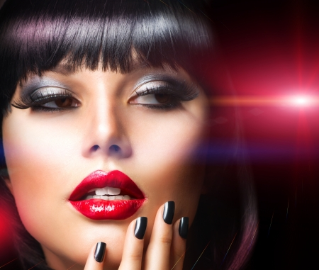 Beautiful Brunette Girl Portrait Face Makeup  Sensual Red Lips  Stock Photo