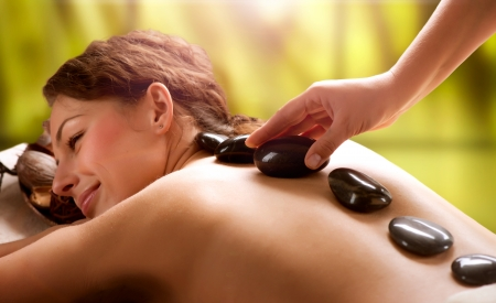 massage: Salon Spa Massage aux pierres Dayspa Banque d'images