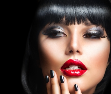 Beautiful Brunette Girl Portrait Face Makeup  Sensual Red Lips Stock Photo - 15658002