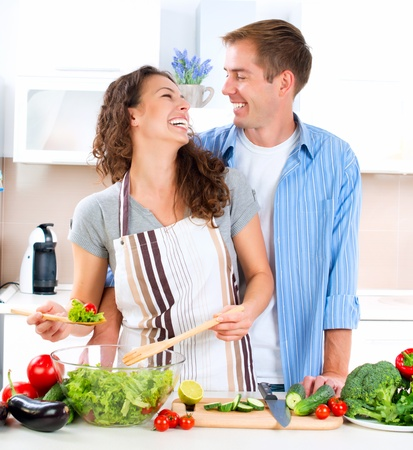 Happy Couple Cooking Together  Dieting  Healthy Food Stock Photo - 15772350