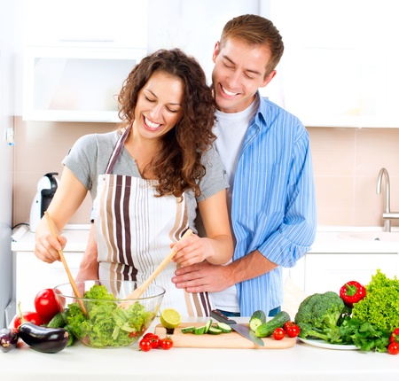 Happy Couple Cooking Together  Dieting  Healthy Food Stock Photo - 15772360