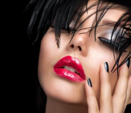 chica sexy: Fashion Girl Makeup Art Retrato Vivid