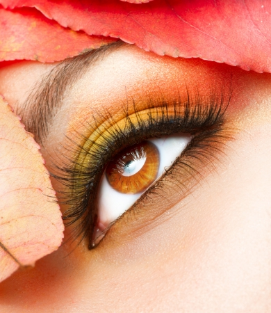 eye red: Autumn Makeup  Fall Make-up Closeup