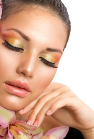 eye make up: Beautiful Woman Face  Perfect Makeup  Stock Photo