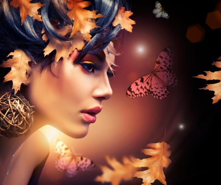 butterfly and women: Autumn Woman Fashion Portrait  Fall  Stock Photo