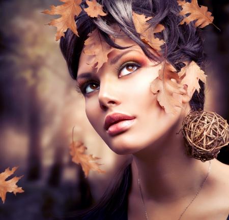 natural beauty: Autumn Woman Fashion Portrait  Fall  Stock Photo