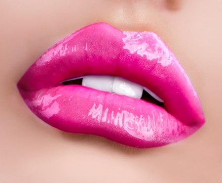 open lips: Glossy Lips  Professional Facial Makeup closeup Stock Photo