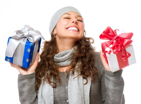 x mass: Happy Young Woman With Christmas Gifts  Gift Box Stock Photo