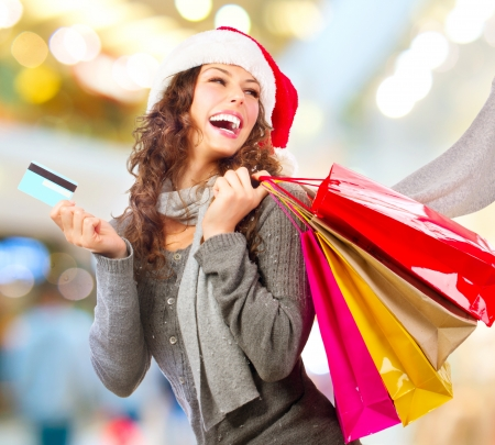 Christmas Shopping  Girl With Credit Card In Shopping Mall Sales Stock Photo - 16052279