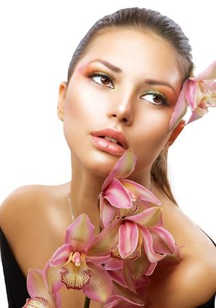 portrait girl: Beautiful Woman Face  Perfect Makeup
